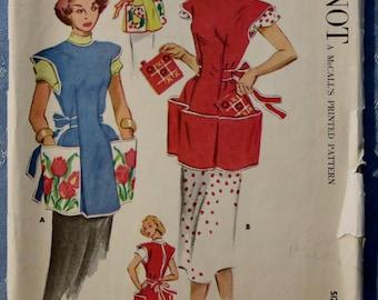 Sewing Pattern Vintage Cobbler Apron Pockets Pot Holder 1952 McCalls Milnot Users