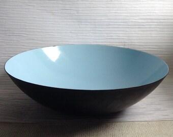 """Enamel on steel Krenit Bowl.  Modernist, Aqua.  15"""" Herbert Krenchel.  Denmark Mid Century Modern, Eames era. Danish Modern, Vintage 1960's."""