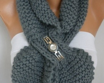 Gray Knit Keyhole Scarf 50s style retro Mom Gift scarflette gypsy bow neck warmer knitted  scarlet  - Women Fashion Accessories