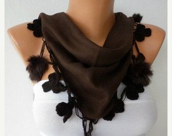 Brown Pashmina Pompom Scarf Mother's Day Gift  Shawl Cowl Scarf Gift Ideas For Her Women Fashion Accessories Winter Scarf