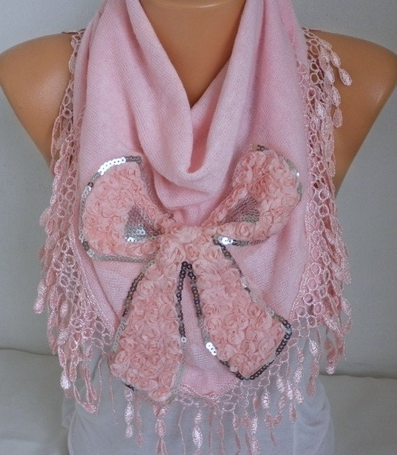 Pink Knitted Scarf, Shawl,Fall Winter Scarf, Lace Oversized Bridesmaid Bridal Accessories, Gift Ideas For Her Women Fashion Accessories