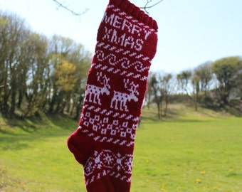 Scandinavian Knit Christmas Stocking Reindeer Merry Xmas Red and white (Ready to ship)