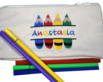 Personalized Embroidered Pencil Case Wallet