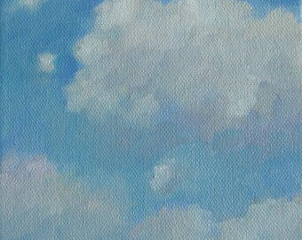 """Clouds Original Oil Painting Cloudscape Sky Modern Impressionist Dreamy Ethereal Surreal Abstract Painting Jennifer Boswell 6x6"""" Canvas"""