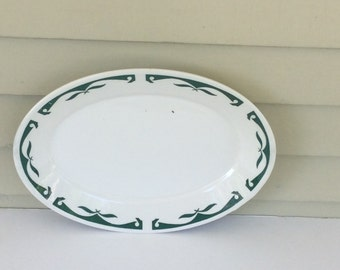 Vintage Green Homer Laughlin Restaurantware Platter / Best China Restaurant Platter / Green Scroll and Leaf Pattern