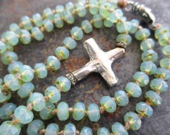 Sideways cross knotted necklace - Heavenly Glow - artisan sterling silver opal seafoam mint green spring inspired boho by slashKnots