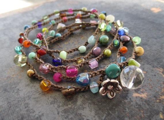 "Colorful crochet wrap bracelet necklace ""Lil' RainBow Splash"" Multi colored, Thai silver flower everyday wrap boho by slashKnots"