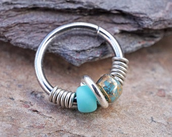 Nose Ring Tragus Hoop Earring Cartilage Hoop Earring Turquoise and Gold