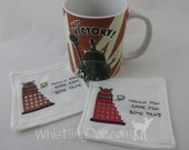 Dalek Cross Stitched Cloth Drink Coaster