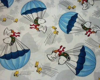 Snoopy Red Baron Fabric Blue Parachute  New By The Fat Quarter BTFQ