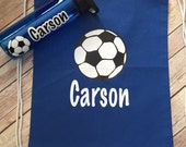 Personalized Soccer Drawstring bag with personalized water bottle, personalized soccer bag, personalized water bottle