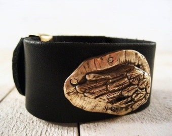 Black Leather Cuff with Bronze Angel Wing and Hidden Stamped Message