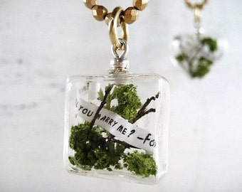 Glass Block Terrarium Necklace with Custom Message