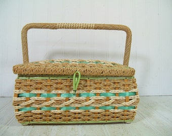 Wicker Sewing Basket Shabby Chic Rectangular Ivory & SeaFoam Green - Vintage Wooden Crafters Case - Mint Green Satin Interior Artisan Chest