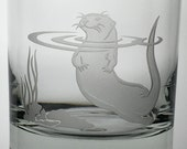 Otter, 13oz Rocks Glass, etched (Sandblasted), Original Design