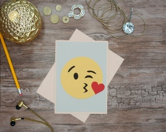 Wink kiss- emoji greeting card handmade card birthday happy face emoticon card anniversary card thank you note original wall art