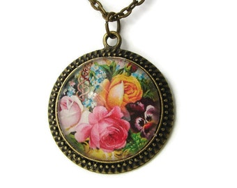 Basket of Roses Antiqued Pendant with Free Necklace