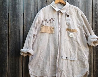 Custom reserved LOVE workwear army khaki garden vintage buttons linen funky gypsy prairie chef artist potter ooak  farm rustic shirt