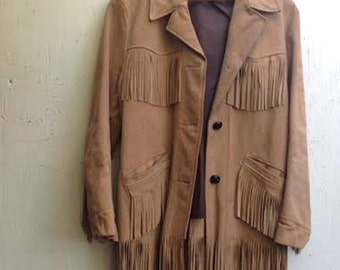SALE Winter holiday fringe leather vintage western gift rustic cowgirl texan mountain barns colorado jacket retro chic forest jacket