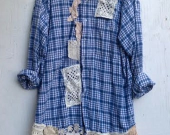 EXAMPLE Custom plaid flannel crochet vintage lace boho rustic prairie barn country shabby winter fashion shirts