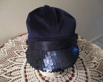 Womens/Girl navy blue newsboy hat with flashy sequin brim