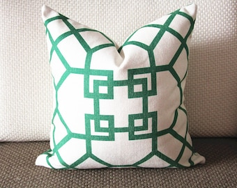 Pillow Cover-Emerald Green-Kravet Couture-Chinoiserie-Geometric-18x18,20x20,22x22 338