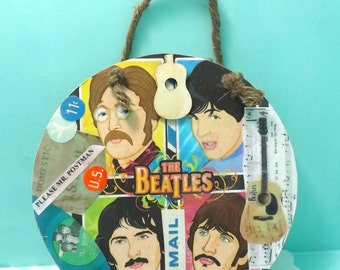 wooden Kitsch sign plaque If Beatles Collage, Please Mr. Postman, handmade signs, wall hangings
