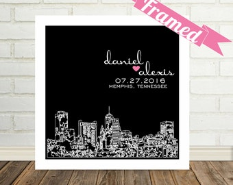 Newlywed Gift Personalized Skyline Gift for Newlyweds FRAMED ART Poster Print  Any City Available Wedding Gift Personalized Engagement Gift
