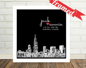 Mr and Mrs Wedding Gift Personalized Skyline Gift Art Print Poster FRAMED ART Any City Available Unique Wedding Gift Valentines Day Gift