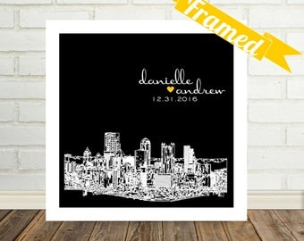 Wedding Present City Print Wedding Gift Wedding Frame Gift for Couple Engagement Gift Engagement Present City Poster Framed Print Skyline
