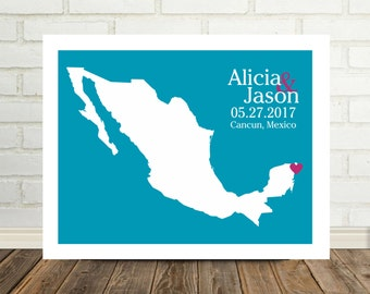 Mexico Wedding Gift Mexico Map Destination Wedding Gift Art Mexico Print Mexico Poster Cancun Wedding Mexico Bride Mexico Guest Book