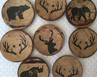 """3 Buttons large coconut buttons 2"""" (50mm) diameter set of 3 forest friends animal silohuettes buck deer antlers woodland"""