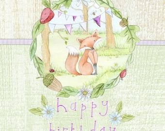 Handmade Woodland Birthday Greeting Card
