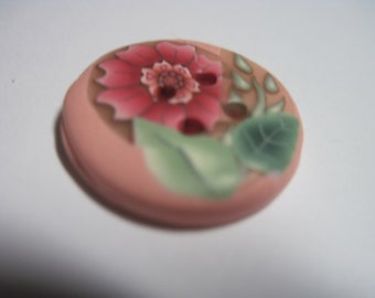 Vintage SPLENDID 1930's Peachy Pink Posy Flower & Enamel Paint Celluloid Button....#74