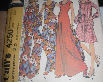 Vintage McCALL'S CAREFREE Pattern #4250...sz.10...dress,top,unlined jacket & pants ....1974....#25....