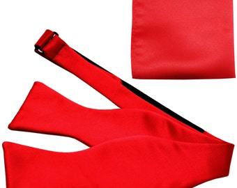 Men's Solid Red Self-Tie Bowtie and Handkerchief, for Formal Occasions