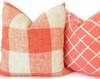 Coral Plaid Pillow - Plaid Pillow - Coral Couch Pillow - Cabin Pillow - Coral Cushion - Plaid Toss Pillow - Coral Sham Pillow - Plaid Sham