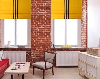 Contemporary Yellow Faux Roman Shade  with Triple Vertical  Black Ribbon Trim   Original Design by SoD!