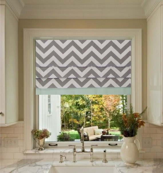 custom made faux roman shade storm grey by supplierofdreams. Black Bedroom Furniture Sets. Home Design Ideas