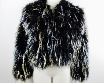 Vintage BLACK GOLD Silver Metallic MARABOU Chubby Feather Coat Rare and Unique Rock Star Street Style Fashion Small