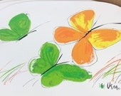 8 Vintage placemats Vera placemats mid century butterfly placemats