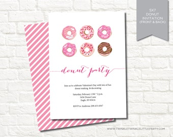 Pink Donut Birthday Party Digital Invitation