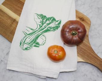 Tea Towel - Hand Screen Printed Bok Choy Flour Sack Towel - Eco Friendly Gift