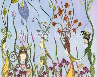 Tending the Garden. Signed limited edition print (gardener, flowers, earth, growing, plants, bloom)