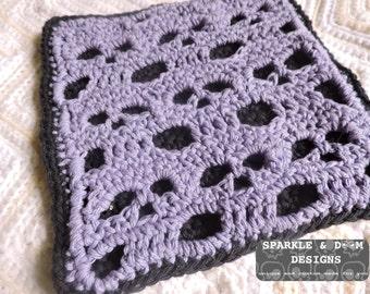 Skull Dishcloth Hotpad Potholder, Goth kitchen crochet skulls cotton made to order bundle deal spider mambo