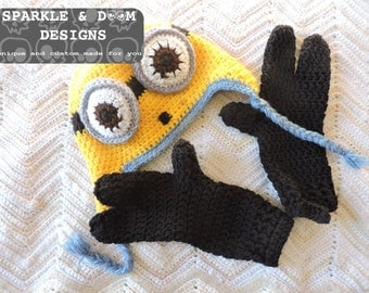 Minion Toque & Mitts Set, crochet discounted price sale gloves Despicable Me handmade adult child toddler sizes