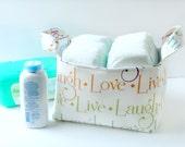 Fabric Storage Basket - Diaper Caddy -New Baby Gift - Gender Neutral - Storage Basket - Storage for Nursery - Fabric Easter Basket