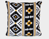 Black white gold yellow aztec throw pillow cover. One cover for 18x18 pillow insert.  Mexican boho Southwestern decor Arizona geometric