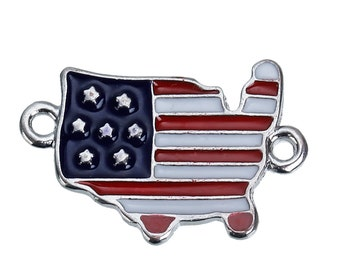 5 USA FLAG Charms, Two-Hole Connector Links for Bracelets, 24x16mm, che0530