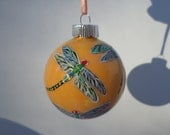 Hand Painted  Dragonfly Ornament  swirled yellow orange  background no200
